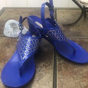 Dana Buchman DBZAIDEBlue Wedge Sandals Size 7 1/2
